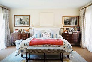 Eclectic Master Bedroom with Carpet, Standard height, Built-in bookshelf