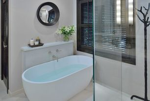 Contemporary Full Bathroom with Galala, Shower, Randolph Morris 66 InchDouble Ended Pedestal, Standard height, Casement