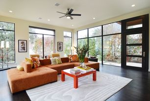 Contemporary Living Room with Ceiling fan, French doors, Global Views Wood Grain Gray/Ivory Area Rug, flush light