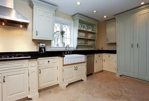 Country Kitchen with L-shaped, partial backsplash, Standard height, Inset cabinets, can lights, Farmhouse sink, Casement