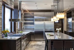 Contemporary Kitchen with Raised panel, Casement, double oven range, Glass panel, Built In Refrigerator, Flush, can lights