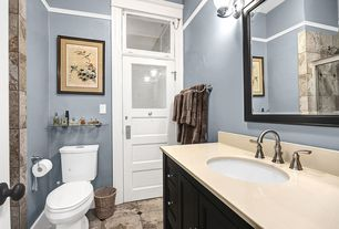 Cottage Full Bathroom with Corian counters, Shower, Chair rail, Flush, Flat panel cabinets, slate tile floors, Full Bath