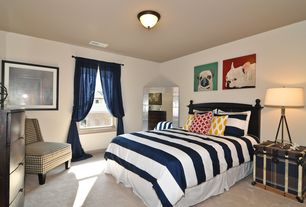 Contemporary Guest Bedroom with other fireplace, Standard height, Fireplace, double-hung window, Carpet, flush light