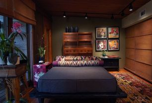 Asian Master Bedroom with High ceiling, Hardwood floors, flush light