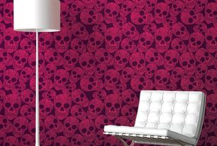 Contemporary Living Room with Astek inc- sugar skulls, Standard height, Flos- spun light floor lamp, interior wallpaper