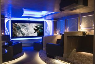 Contemporary Home Theater with Carpet, Pendant light, Home theater rope lighting, Home theater seating, Built-in bookshelf