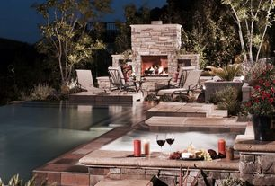 Traditional Patio with exterior brick floors