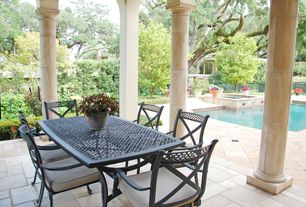 Mediterranean Porch with Screened porch, exterior concrete tile floors, exterior tile floors, Fence