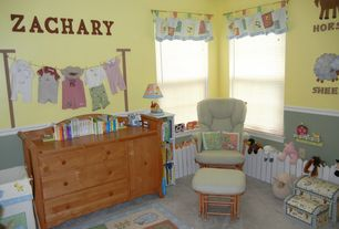 Traditional Kids Bedroom with Carpet, Chair rail