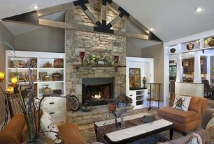 Country Living Room with High ceiling, Fireplace, Paint 1, Exposed beam, can lights, Built-in bookshelf, stone fireplace