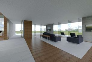 Modern Living Room with Standard height, Laminate floors, picture window, Columns