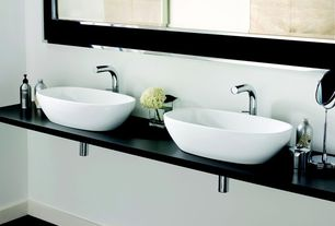 Contemporary Master Bathroom with Vessel sink, Signature Hardware - Phillipe Single-Hole Vessel Faucet, Wood counters