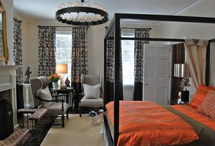 Contemporary Master Bedroom with Hardwood floors, Chandelier, Crown molding