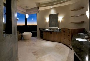 Contemporary Master Bathroom with Oregon Tile & Marble Granite in Brown Antico, European Cabinets, Double sink, Ceramic Tile