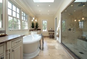 Traditional Master Bathroom with Ms international ivory 12 in. x 12 in. honed travertine floor and wall tile, Skylight