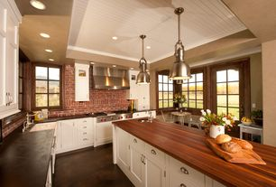 Country Kitchen with Breakfast nook, L-shaped, Wood counters, Slate counters, Pendant light, Kitchen island, Glass panel door