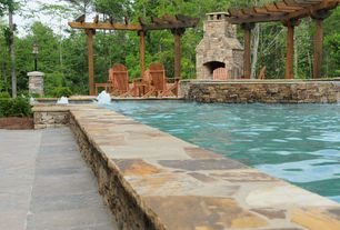 Rustic Swimming Pool with Gray slate tile (12 in. x 12 in.), Trellis, Outdoor pool, exterior stone floors, outdoor pizza oven