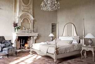 Traditional Master Bedroom with Crown molding, Interlocking Pavers, Cement fireplace, Fireplace, Glass panel door, Chandelier