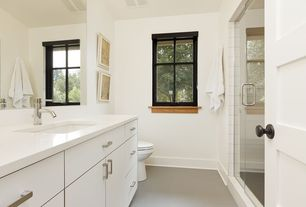 Contemporary 3/4 Bathroom with frameless showerdoor, Standard height, Corian counters, Ultracompact surface countertop, Flush