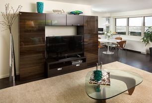 Modern Living Room with Built-in bookshelf, Walnut Birch Wood W/Tempered Glass Triangle Coffee Table, Hardwood floors