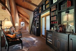 Craftsman Library with Linon & Linon Rugs Brown Stencil Full Skin Area Rug, Carpet, High ceiling, French doors, Exposed beam