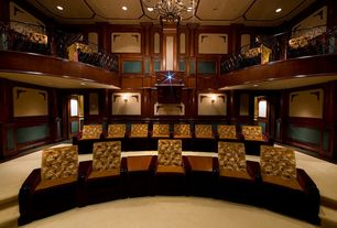 Traditional Home Theater with Carpet, Chandelier, Loft, Crown molding, High ceiling, Wall sconce, Wainscotting