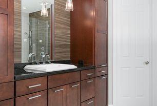 Craftsman Master Bathroom with frameless showerdoor, six panel door, Handheld showerhead, drop-in sink, Shower, can lights