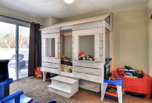 Traditional Playroom with Ceiling fan, Built-in bookshelf, Carpet