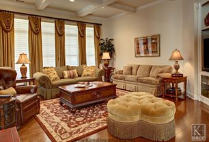 Traditional Living Room with Box ceiling, Hardwood floors, Restoration hardware churchill leather recliner, Crown molding