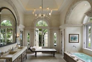 Traditional Master Bathroom with Master bathroom, Limestone counters, Flat panel cabinets, Cleo Chaise Lounge, French doors