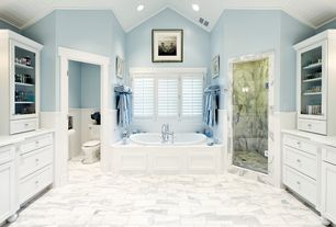 Traditional Master Bathroom with Paint 1, Barewalls 'Beach Chairs' by Christine Triebert Framed Photographic Print, Casement