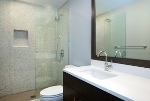 Contemporary 3/4 Bathroom with partial backsplash, Corian counters, Shower, Flush, Standard height, European Cabinets