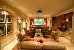 Contemporary Home Theater with Concrete floors, can lights, Standard height, Wall sconce