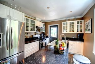 Modern Kitchen with Raised panel, L-shaped, White drop in 2-basin sink, Destiny: boston cabinet (raised panel), Crown molding