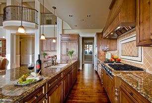 Traditional Kitchen with Daltile armour oil rubbed bronze pencil liner, Daltile polaris astrid blanco accent strip, Galley