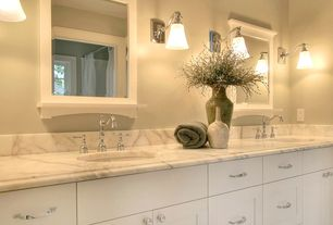 Traditional Master Bathroom with partial backsplash, Undermount sink, double-hung window, Calacatta splendor, Master bathroom