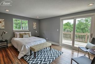 Traditional Master Bedroom with Nuloom modern zig zag chevron grey rug, Target threshold bench yellow/white trellis