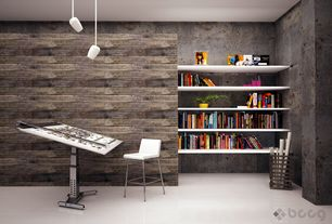 "Contemporary Home Office with Concrete walls, Concrete floors, George Kovacs Pontil 4"" Wide Brushed Nickel Mini Pendant"