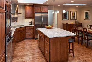 Craftsman Kitchen with Ms international carrara white c/d marble, Kitchen island, Crown molding, Pendant light, Breakfast bar