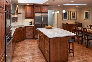 Craftsman Kitchen with Ms international carrara white c/d marble, Kitchen island, Crown molding, Pendant light, Breakfast bar