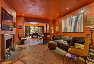 Eclectic Living Room with Hardwood floors, terracotta tile floors