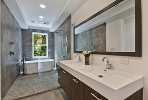 Modern Full Bathroom with Flush, Ultra Single-Hole Bathroom Faucet, European Cabinets, Undermount sink, Double sink