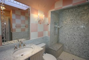 Eclectic 3/4 Bathroom with Simple marble counters, Handheld showerhead, Shower, three quarter bath, no showerdoor, Flush