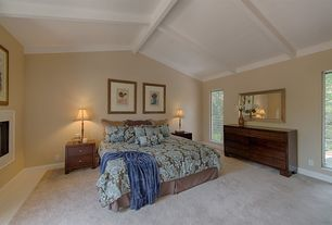 Traditional Master Bedroom with West Elm - Boerum 6-Drawer Dresser Caf?, Exposed beam, Gable ceiling, stone fireplace, Carpet