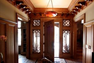 Traditional Entryway with Wainscotting, Crown molding, Hardwood floors, Safavieh Classic CL-758, flush light