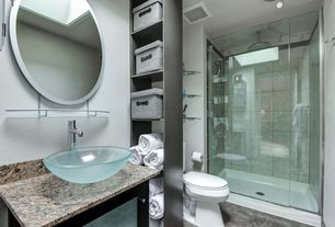 Contemporary 3/4 Bathroom with Complex Granite, frameless showerdoor, Custom Frameless Glass Shower Door, flush light, Flush