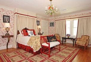 Traditional Master Bedroom with interior wallpaper, Hardwood floors, Chandelier, Standard height, double-hung window