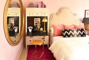 Eclectic Master Bedroom with Carpet, World market linen elsie headboard, Cooper classics blake wall mirror antique gold