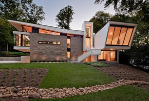 Modern Exterior of Home with Vertical window mullions, Minimalist, Transom window, Exterior cladding, Dry creek, Modernist