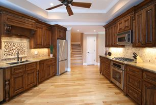 Traditional Kitchen with Custom hood, MS International Ibiza Glass Stone Blend Mosaic Tile, Crown molding, Ceramic Tile
